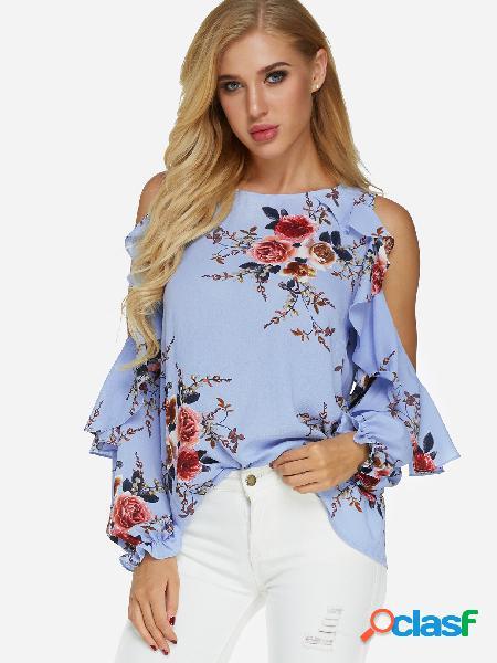 Blusa de mangas compridas com estampa floral azul aleatória de ombro frio