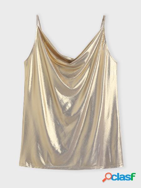 Yoins basics plus tamanho dourado sem costas design camis