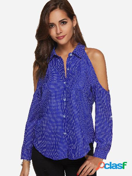 Blusa de manga comprida azul bolinhas de ombro frio