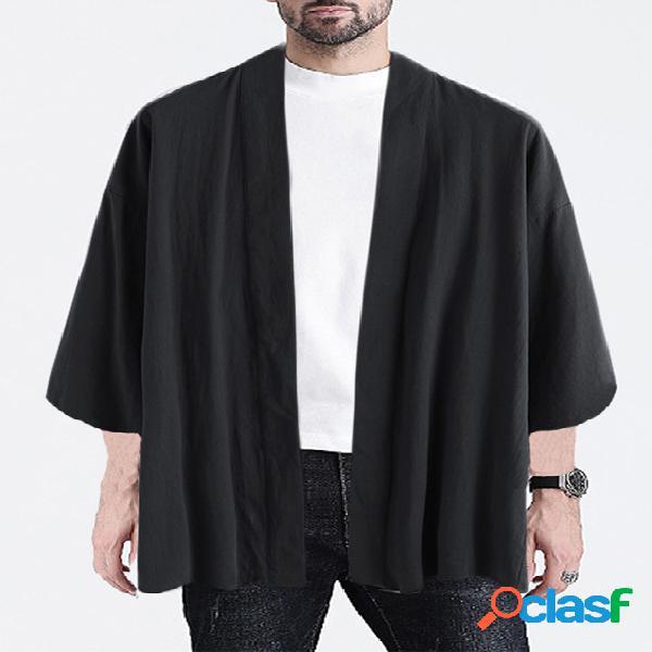 Incerun casaco casual masculino de algodão liso com protetor solar folgado cardigan