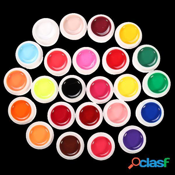 24 cores liquid pure manicure nail art uv gel builder decoration set