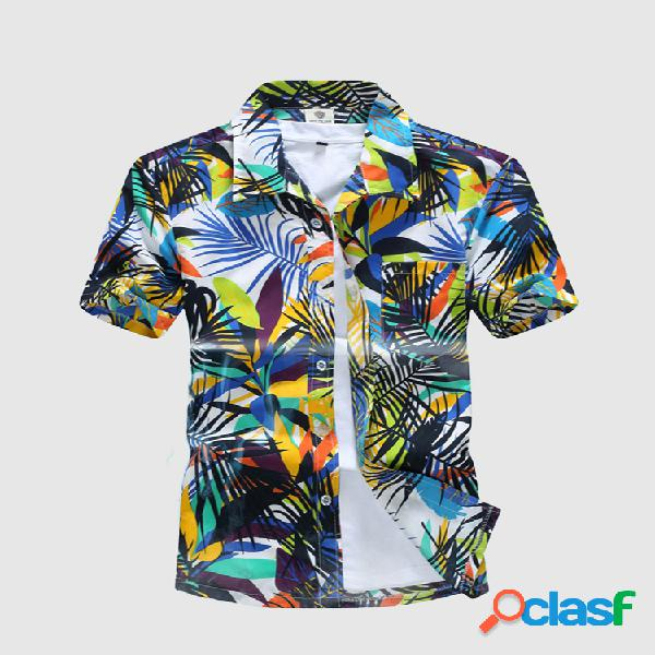 Camisa aloha floral solta casual tamanho grande secagem rápida