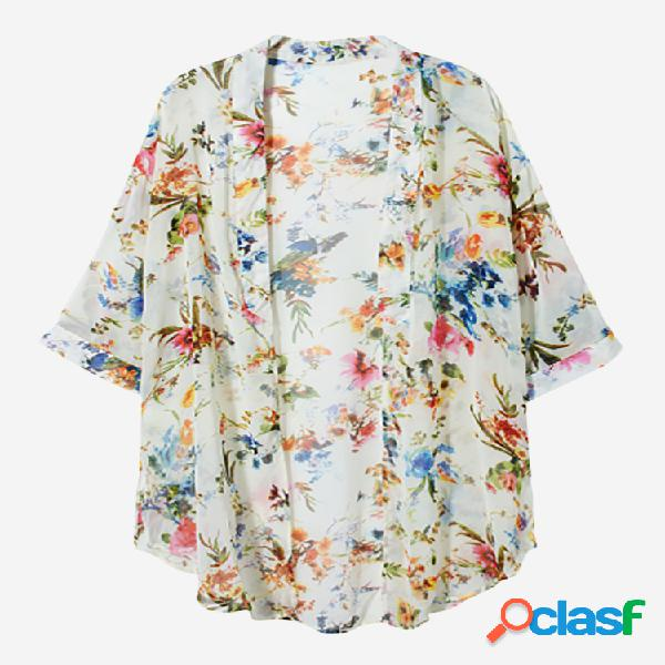 Casaco de chiffon estampa floral manga curta multi-cor feminino