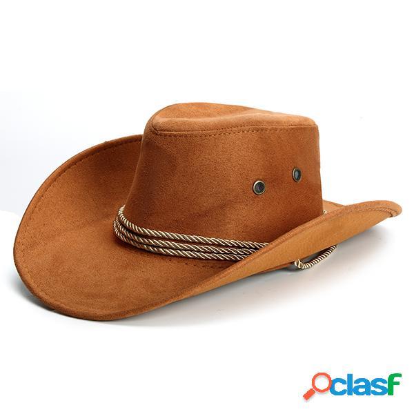 Chapéu de cowboy ocidental de couro de faux chapéu para praia e camping chapéu outdoor
