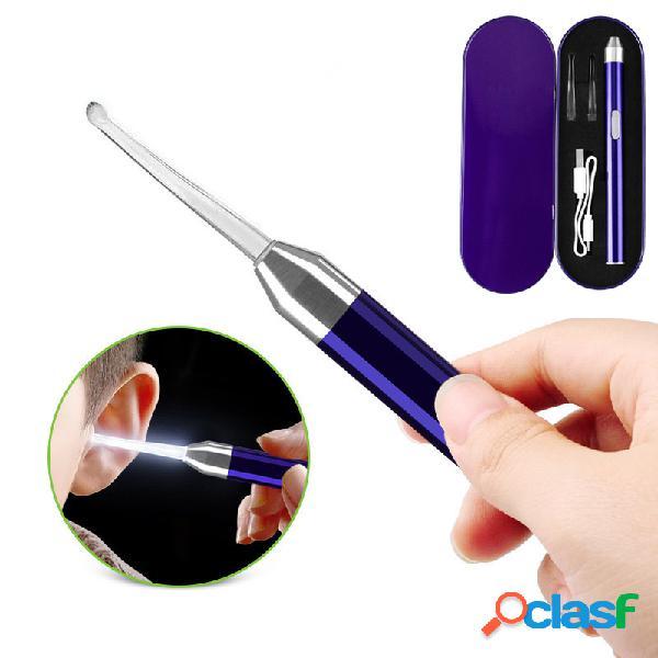 Luz usb ear colher set earwax ferramenta de limpeza das crianças ear pick tool set pessoal ear care