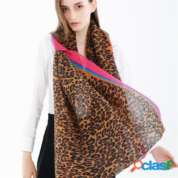 Mulheres padrão de leopardo plissado listrado de algodão e lenço de linho ao ar livre lenço quente à prova de vento quente