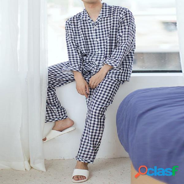 Conjunto de pijamas de algodão design algodão manga comprida lapela gola manga comprida