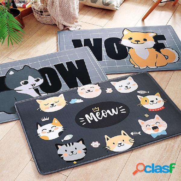 Cute cartoon cat cachorro pet floor mat home soft flanela antiderrapante tapete absorvente de água capacho