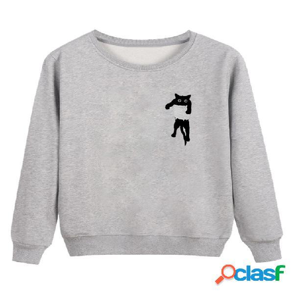 Gato bonito impressão manga comprida em torno do pescoço camisola