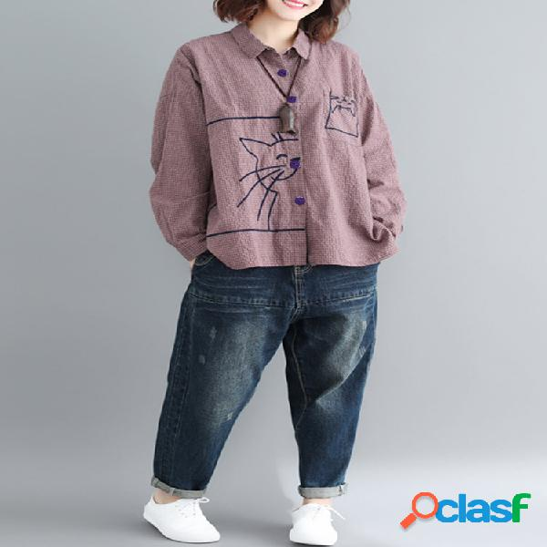 Manta casual bordada manga longa camisa para mulheres