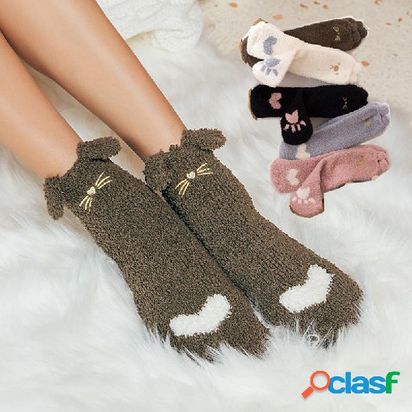 Mulheres inverno coral veludo meias quente bonito dos desenhos animados espessamento meias meias meias meias casuais meias