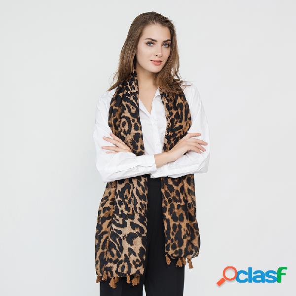 Mulheres leopardo útil viagem selvagem borla algodão e lenço de linho ao ar livre ocasional quente cachecol