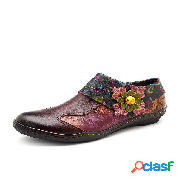 Socofy emenda floral retro pintado à mão padrão sapatos de couro liso com zíper para mulheres
