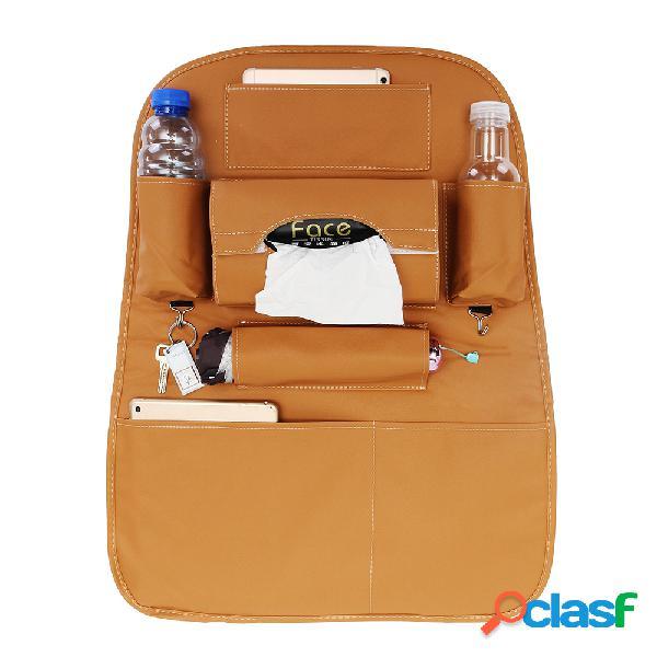Assento de carro do couro do plutônio saco de armazenamento traseiro impermeável multi-funcional organizador do copo titular