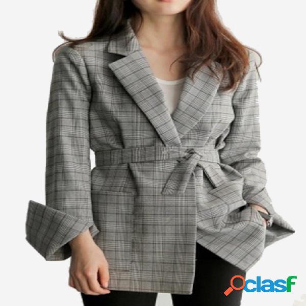 Blazer xadrez de manga comprida feminino paletó casual
