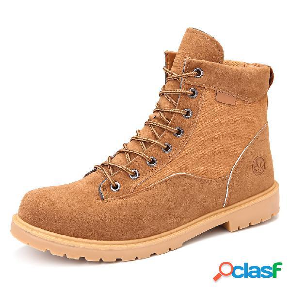 O estilo resistente ao deslizamento exterior do dedo do pé redondo dos homens ata acima botas de deserto