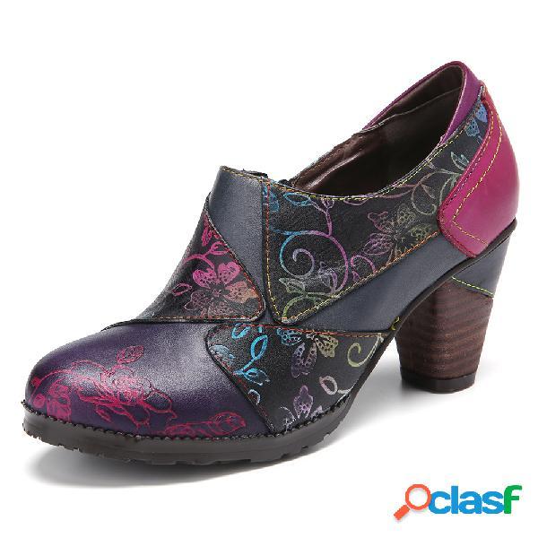 Socofy retro splicing pintados à mão flores padrão zipper chunky heel couro genuíno bombas