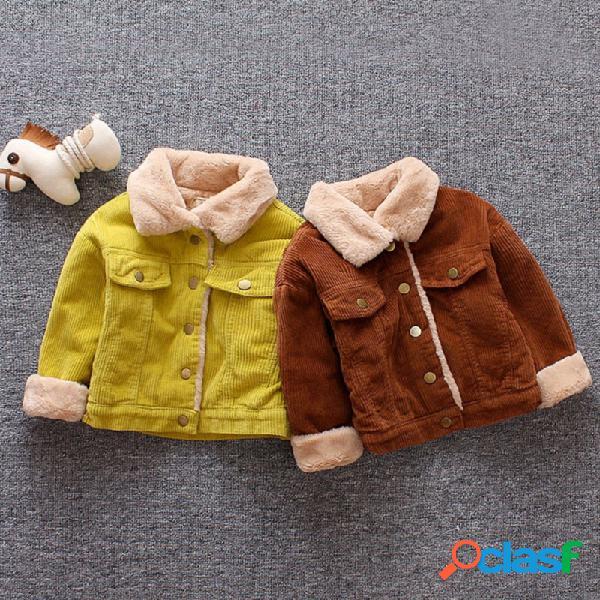 Velo de veludo morno crianças bebê meninas meninos inverno jaqueta casaco por 6-36 meses