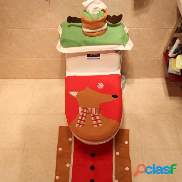 Conjunto de 3 unidades / conjunto de tampa de banheiro de natal conjunto de tampa de banheiro tampa de vaso de água