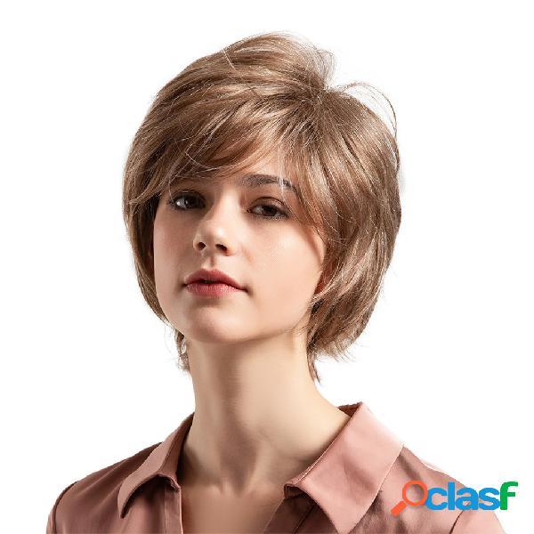 Cabelo humano perucas curtas castanho claro cabelo curto em linha reta perucas moda perucas para as mulheres 8 polegada
