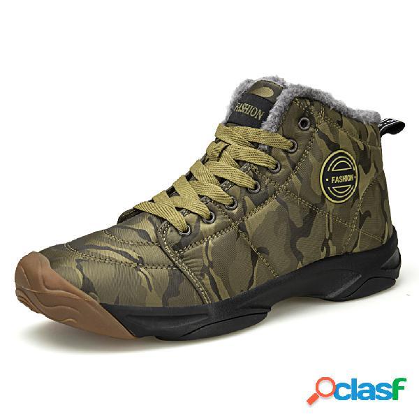 Homens ao ar livre waterproof slip resistente warm forrado caminhadas ankle boots