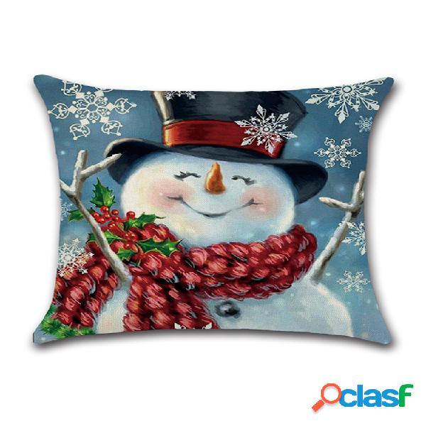 Capa de almofada de linho de algodão com impressão de boneco de neve de natal e fronha decorativa para casa