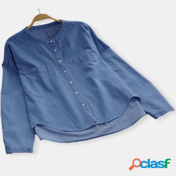 Jeans irregular com pescoço em cor sólida plus tamanho camisa
