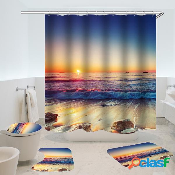 Cortina de chuveiro impermeável antiderrapante tapete três conjunto decoração do banheiro azul oceano pôr do sol