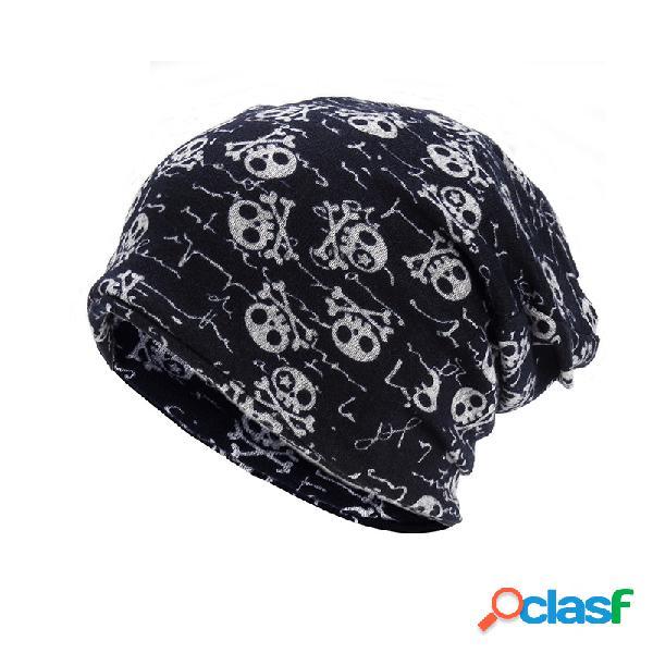Impressão das mulheres dos homens de moda manter quente de algodão gorro chapéu outono inverno ao ar livre cap cachecol uso dupla