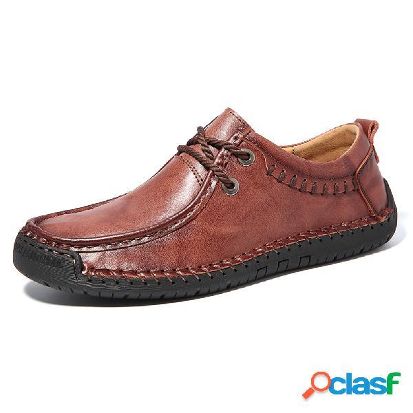Tamanho grande homens de couro de microfibra não-deslizamento soft sole casual sapatos de condução