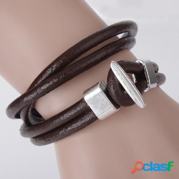 Bracelete de couro real do preto de brown do bracelete de couro real do vintage multi para o bracelete simples do estilo dos homens