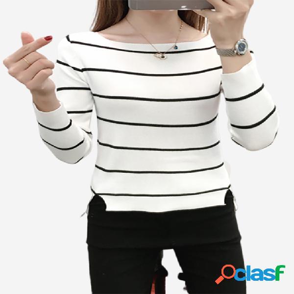 Moda feminina listrada casual manga longa camisola