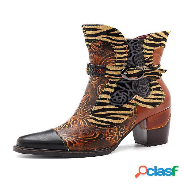 Socofy couro de vaca feito à mão com costura flor retrô padrão botas com zíper com costura de fivela