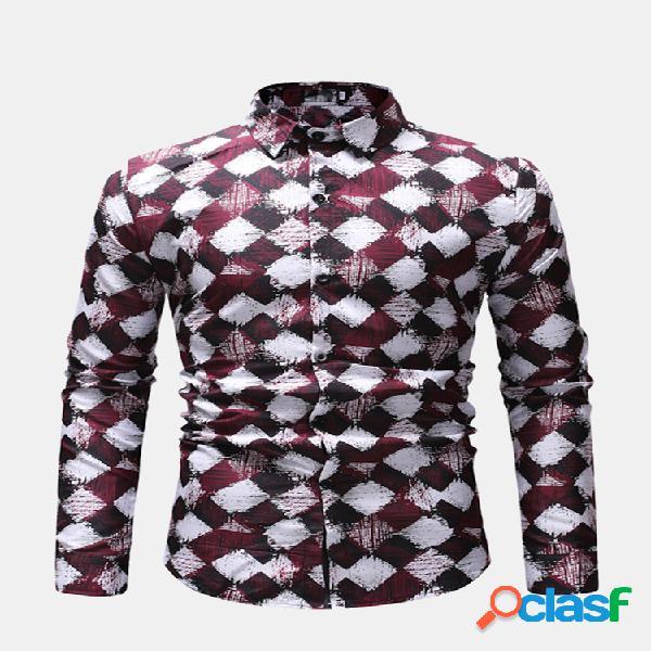 Manta casual dos homens impressa turn down collar slim fit manga comprida camisa