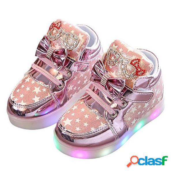 Meninas bowknot rhinestone decor led gancho loop sapatos casuais