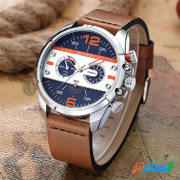 O quartzo ocasional olha a borracha banda o relógio de pulso de couro análogo militar de quartzo