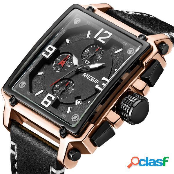 Relógio de quartzo de número de relógio de data de cronógrafo de relógio de homens de estilo único luminoso