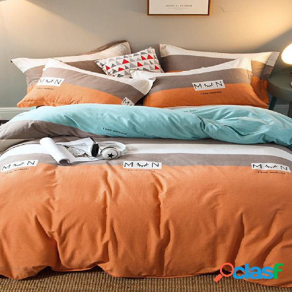Conjunto de roupa de cama 4 unidades 100% algodão espessado