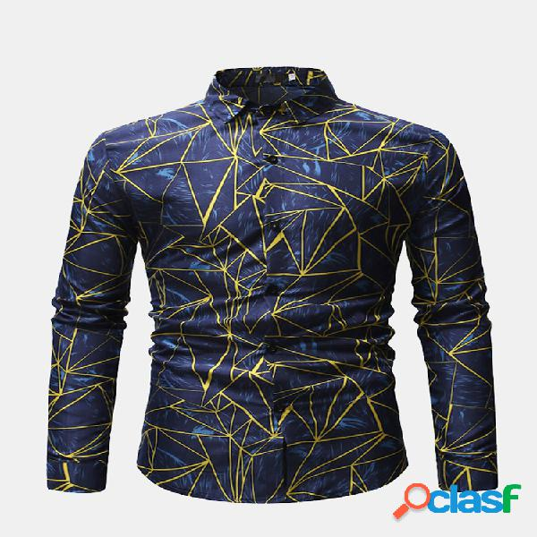 Geometria masculina impresso turn down collar manga comprida casual camisa para homens