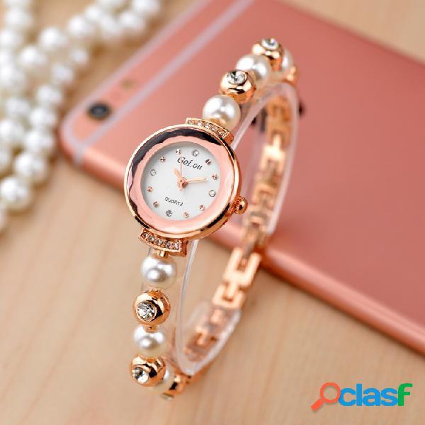 Moda elegante relógio de strass pulseira de pérolas relógio de quartzo relógio de mulheres à prova d'água
