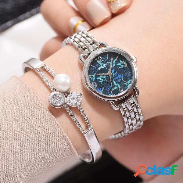 Moda impresso flor relógio de quartzo multa mulheres de aço inoxidável relógio cadeia pulseira relógio de cintura