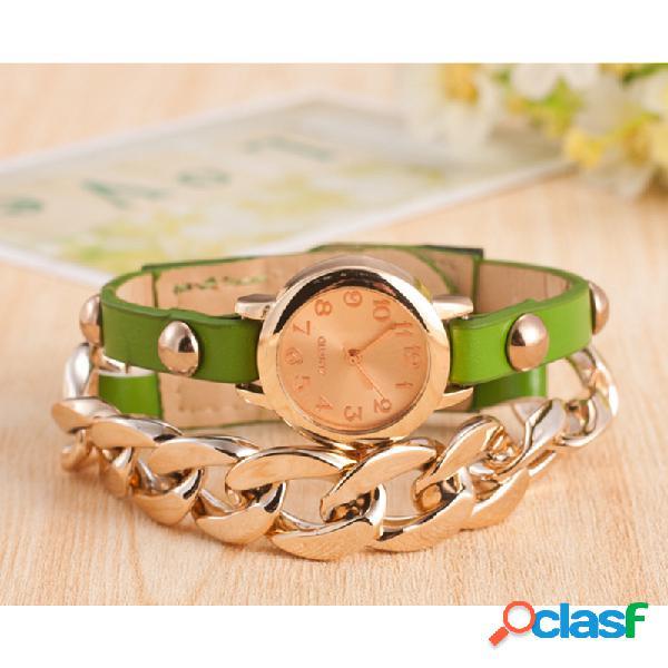 Moda sinuosa pulseira relógio de couro pu liga cintura relógio moda estilo mulheres de quartzo wacth