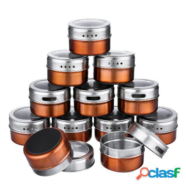 12 pçs / set latas de temperos magnéticos recipiente de armazenamento de aço inoxidável frascos de tampa clara churrasco tempero de ouro