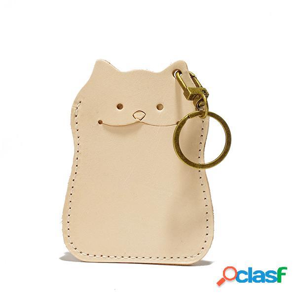 Carteira da bolsa da moeda do gato bonito dos desenhos animados couro genuíno das mulheres