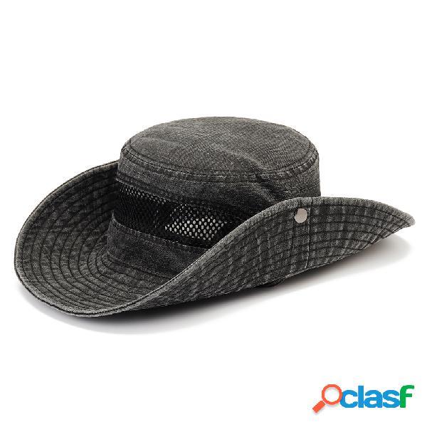 Homens dobrável respirável ajustável verão algodão pescador chapéu escalada ao ar livre malha tampão cap