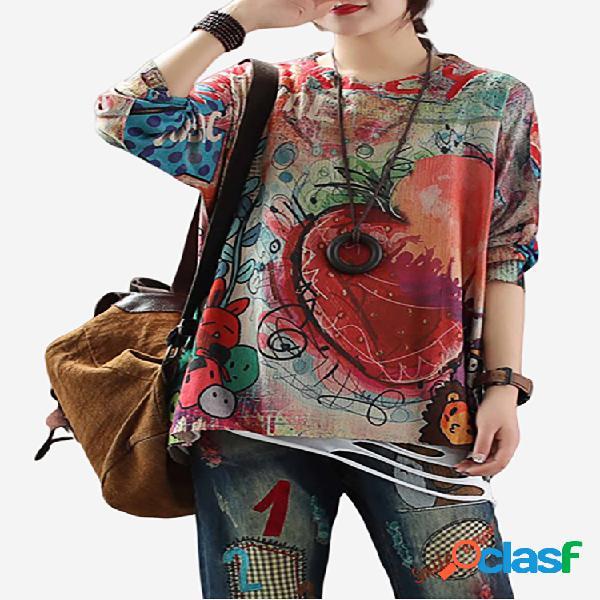 Suéter vintage de manga comprida com estampa graffiti fina de primavera