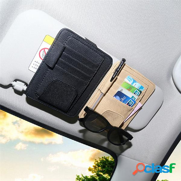 Visor de sol para carro de couro pu óculos porta-caneta para cartão de clipe e armazenamento pacote de licença de motorista