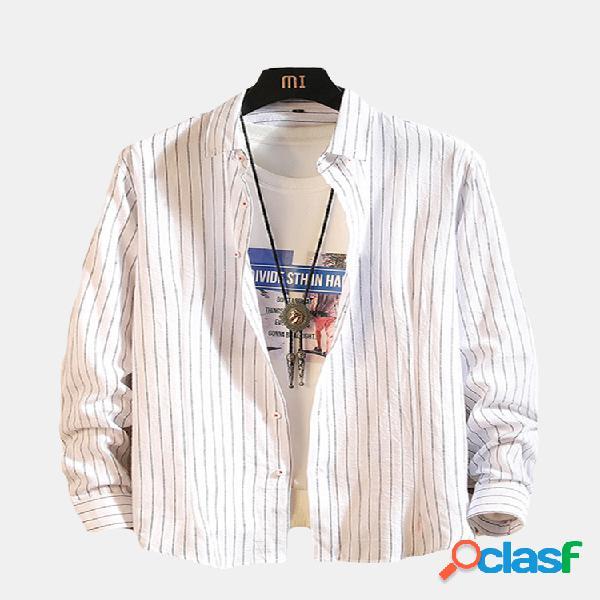 Algodão listrado turn down collar manga comprida botão para baixo camisa para homens
