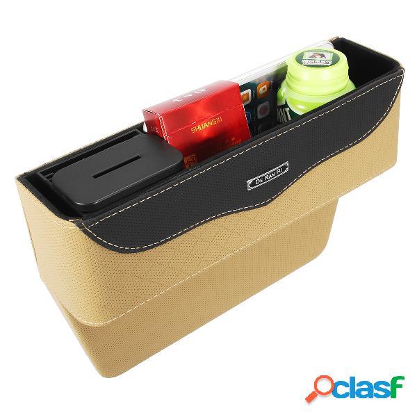 Armazenamento de fenda de assento de carro de couro bolsa caixa organizador de preenchimento de espaço para assento de carro para dinheiro