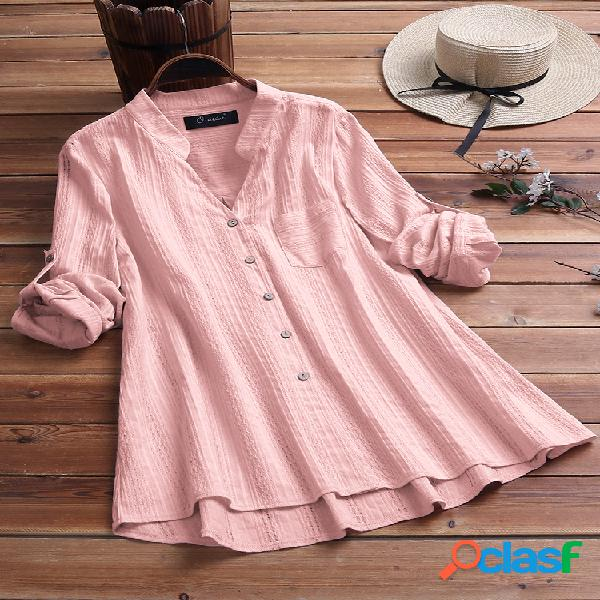 Botão de bainha irregular vintage de cor sólida plus tamanho camisa